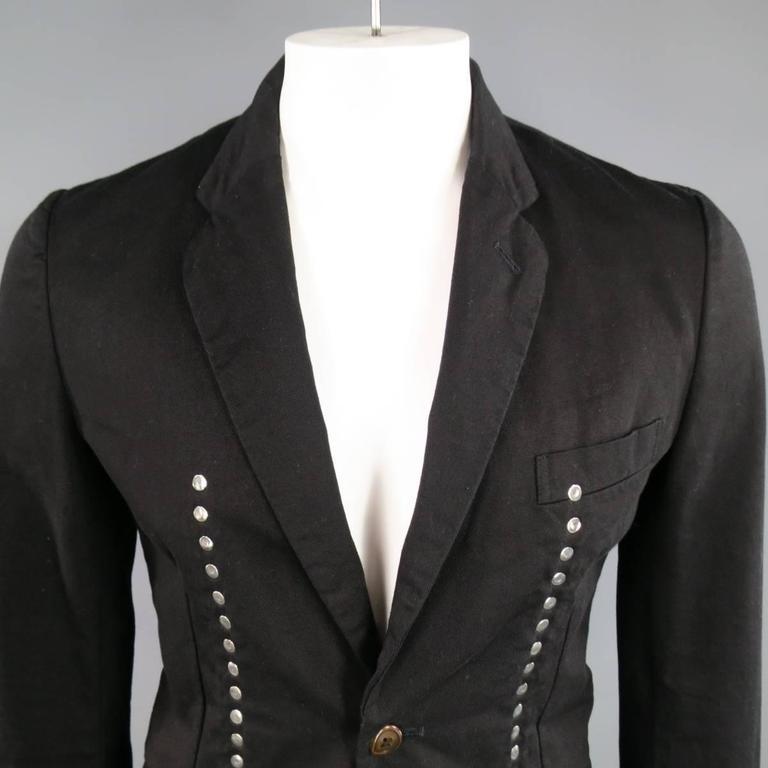 Men's Comme Des Garcons Black Cotton Reversible Studded Sport Coat Jacket For Sale