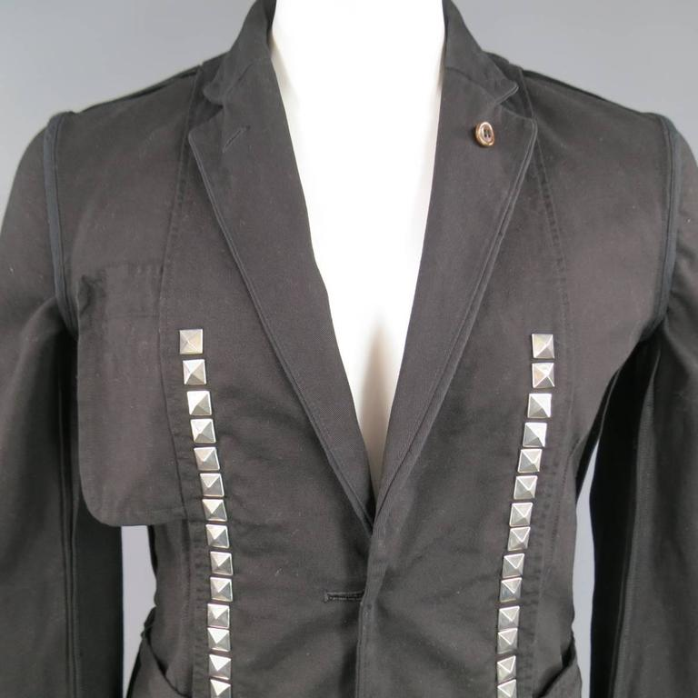 Comme Des Garcons Black Cotton Reversible Studded Sport Coat Jacket For Sale 4