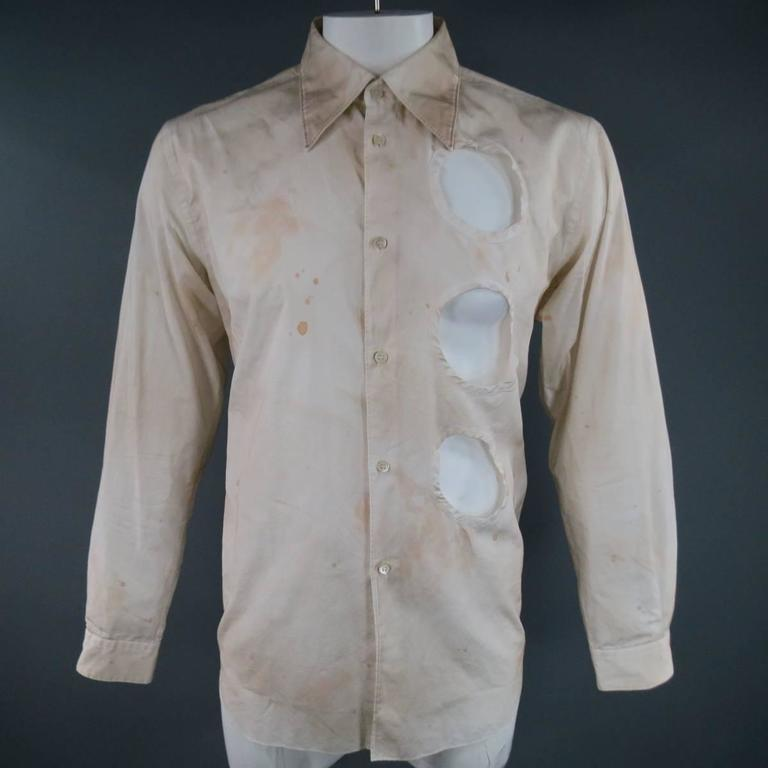 COMME des GARCONS Men's Size L Beige Dirty Wash Cotton ...