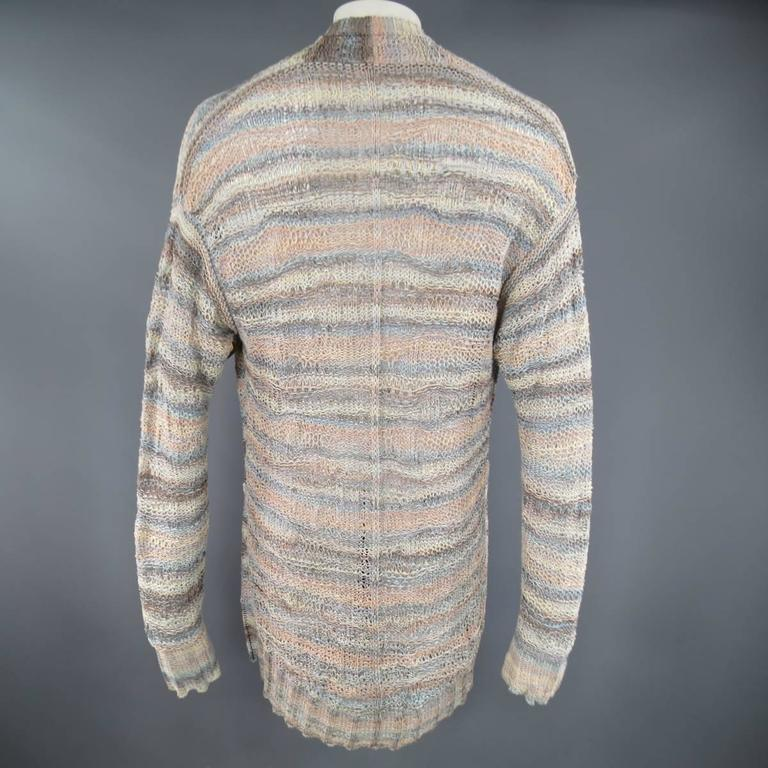 DAMIR DOMA Size L Multi-Color Pastel Cotton Mesh Oversized Cardigan In Good Condition For Sale In San Francisco, CA
