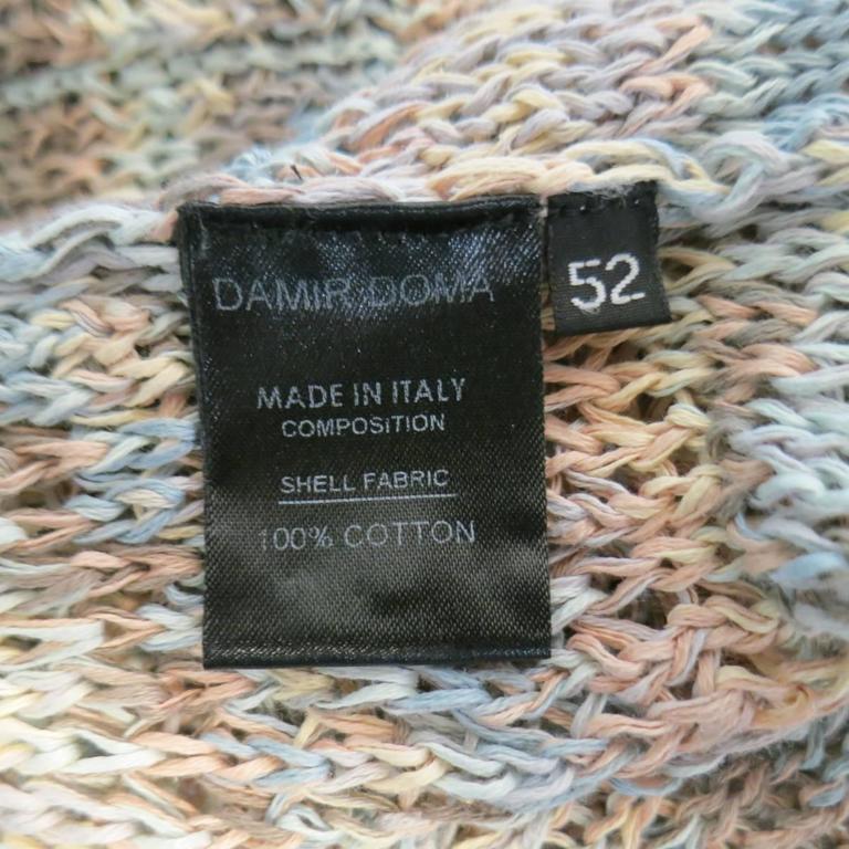 DAMIR DOMA Size L Multi-Color Pastel Cotton Mesh Oversized Cardigan 9
