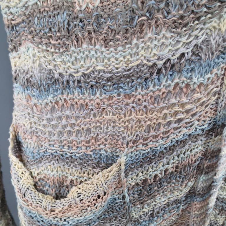 Women's or Men's DAMIR DOMA Size L Multi-Color Pastel Cotton Mesh Oversized Cardigan For Sale