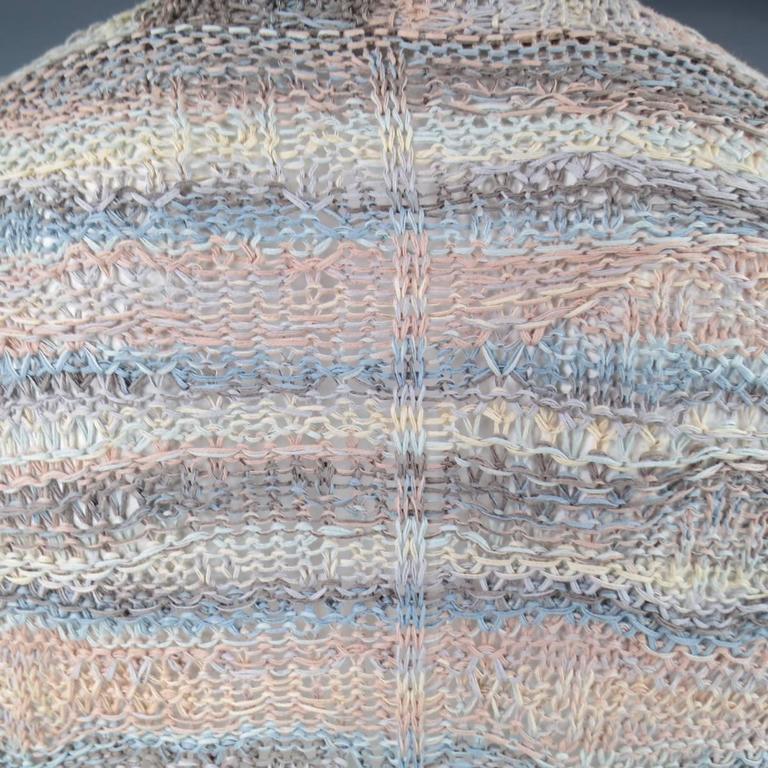 DAMIR DOMA Size L Multi-Color Pastel Cotton Mesh Oversized Cardigan 7