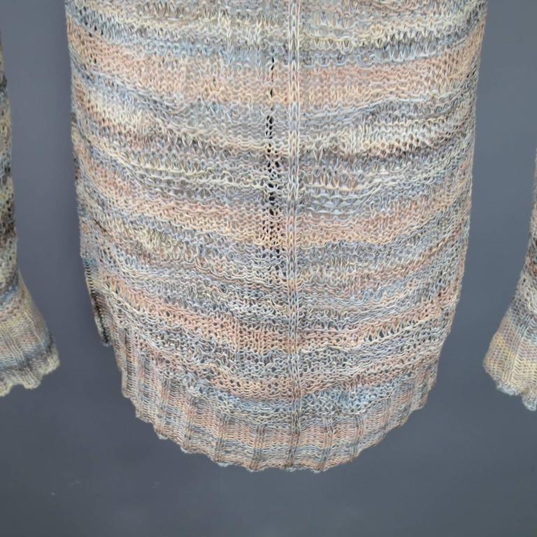 DAMIR DOMA Size L Multi-Color Pastel Cotton Mesh Oversized Cardigan 6