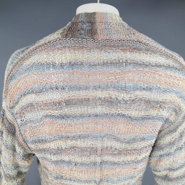 DAMIR DOMA Size L Multi-Color Pastel Cotton Mesh Oversized Cardigan For Sale 3
