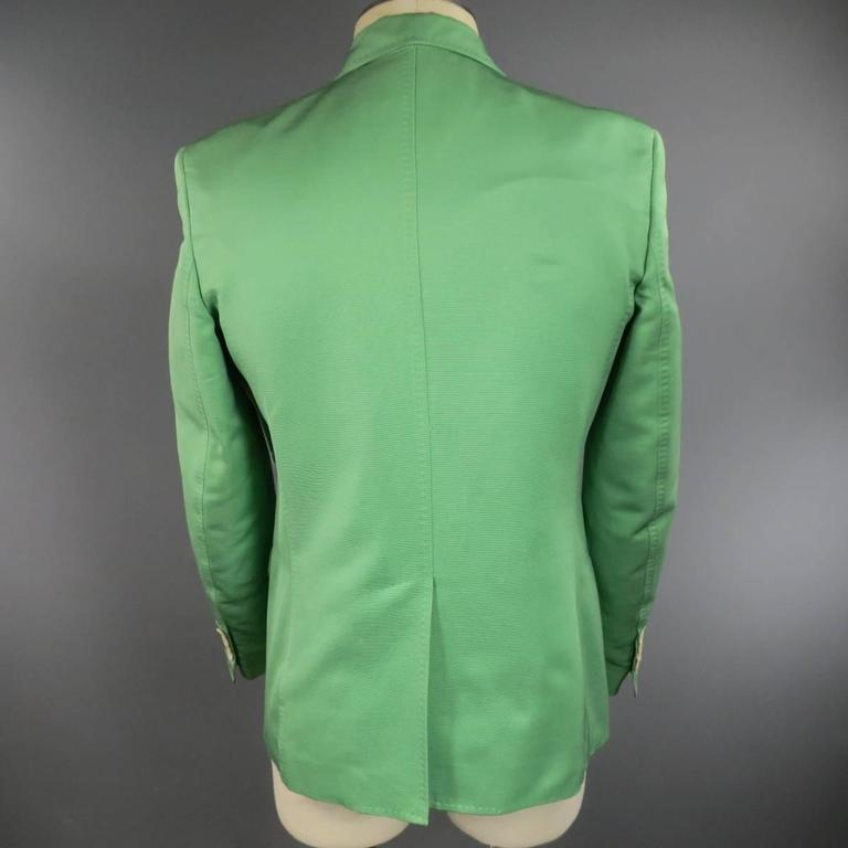 DSQUARED2 40 Regular Men's Light Green Cotton / Silk Faille Sport Coat For Sale 3