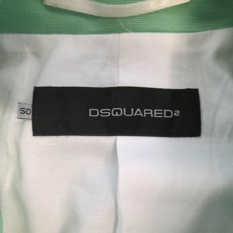 DSQUARED2 40 Regular Men's Light Green Cotton / Silk Faille Sport Coat For Sale 4