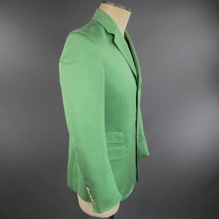 DSQUARED2 40 Regular Men's Light Green Cotton / Silk Faille Sport Coat For Sale 1