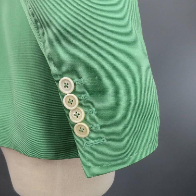 DSQUARED2 40 Regular Men's Light Green Cotton / Silk Faille Sport Coat For Sale 2