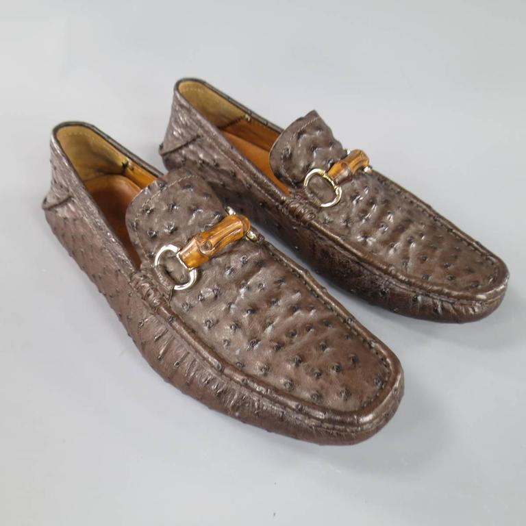 c7444f99a0f GUCCI Size 10.5 Brown Ostrich Leather Bamboo Horsebit Driver Loafers In  Excellent Condition For Sale In