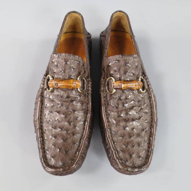 0d7f06bcf02 Men s GUCCI Size 10.5 Brown Ostrich Leather Bamboo Horsebit Driver Loafers  For Sale