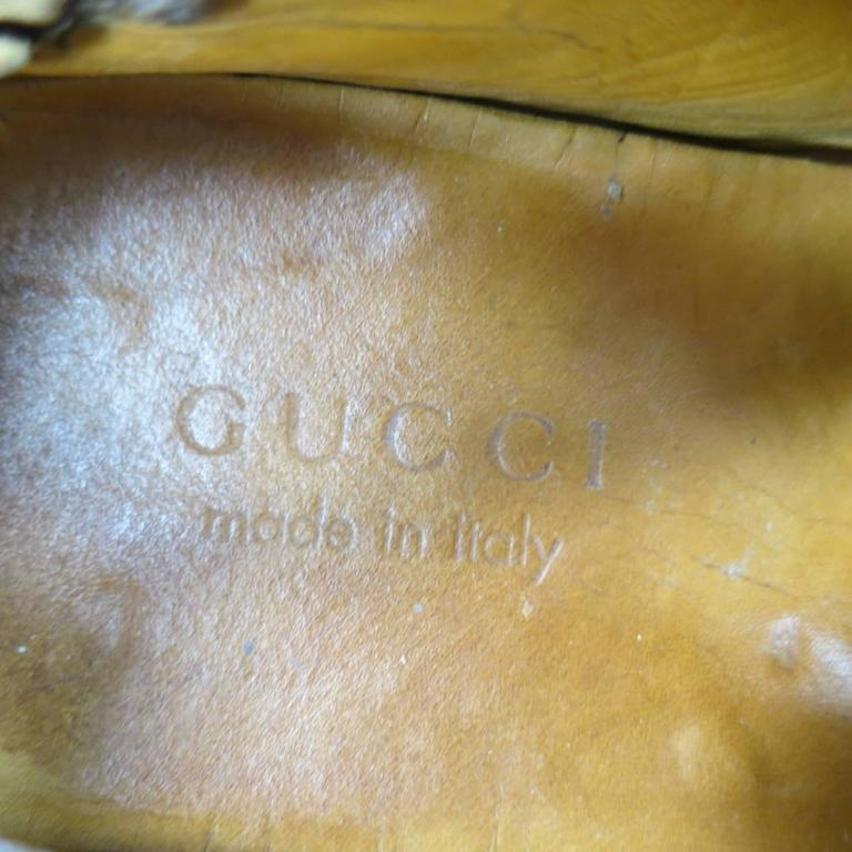 45f19314272 GUCCI Size 10.5 Brown Ostrich Leather Bamboo Horsebit Driver Loafers For  Sale 3