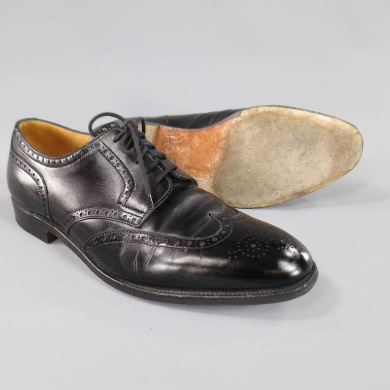 JOHN LOBB -DARBY- Size 10.5 Men's Black Leather Wingtip Lace Up 2