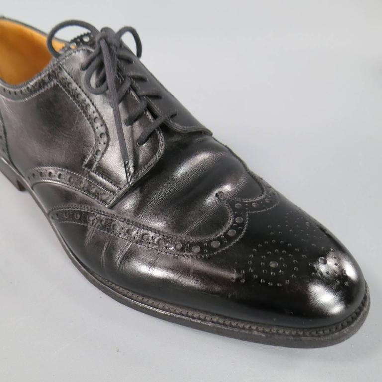 JOHN LOBB -DARBY- Size 10.5 Men's Black Leather Wingtip Lace Up 4