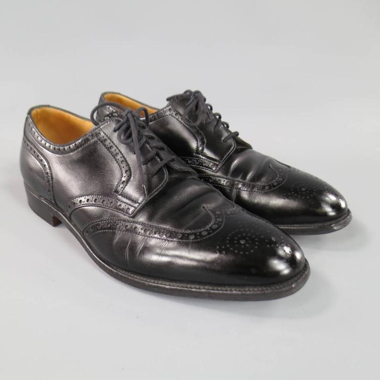 JOHN LOBB -DARBY- Size 10.5 Men's Black Leather Wingtip Lace Up 3