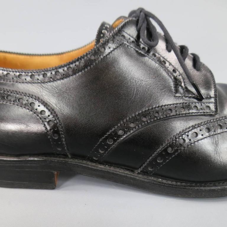 JOHN LOBB -DARBY- Size 10.5 Men's Black Leather Wingtip Lace Up 5