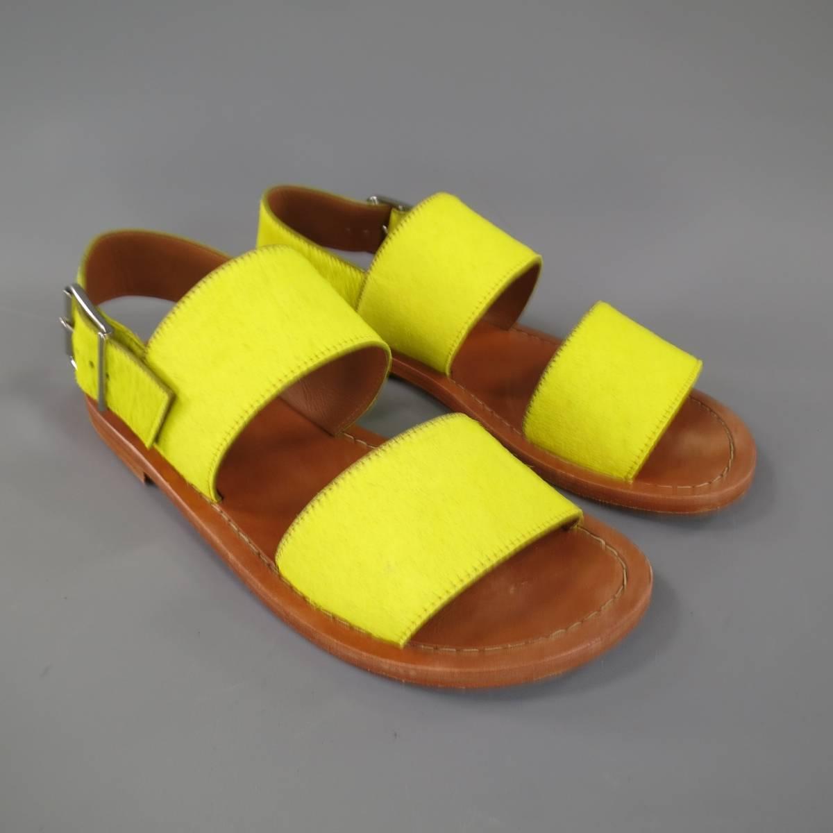Marni Size 8 Men S Neon Yellow Pony Hair Leather Strap