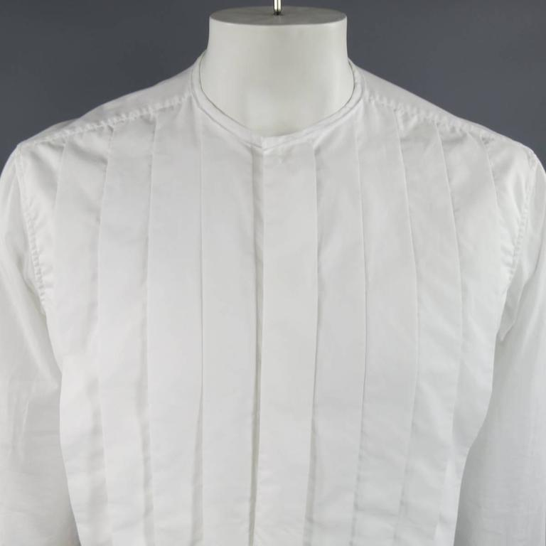LANVIN Size L Men's White Pleated Cotton Collarless Long Sleeve Shirt 2