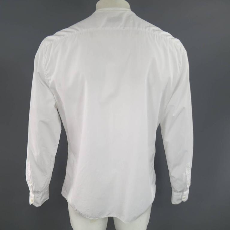 lanvin size l men 39 s white pleated cotton collarless long