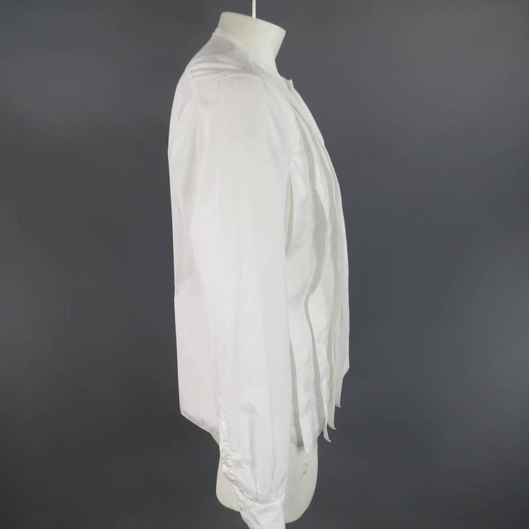 LANVIN Size L Men's White Pleated Cotton Collarless Long Sleeve Shirt 4