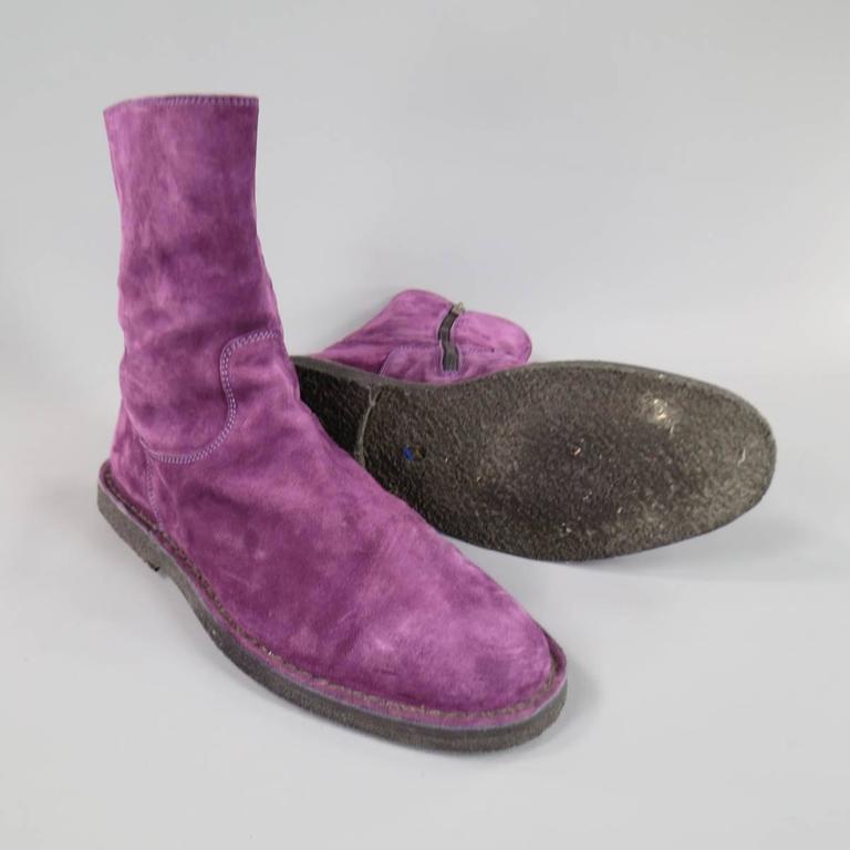 Gray ANN DEMEULEMEESTER Size 8 Men's Purple Suede Crepe Sole Calf Boots For Sale