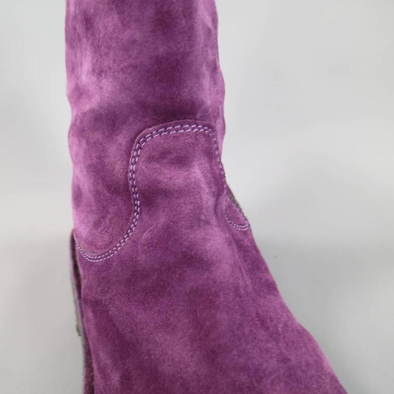 ANN DEMEULEMEESTER Size 8 Men's Purple Suede Crepe Sole Calf Boots In Excellent Condition For Sale In San Francisco, CA