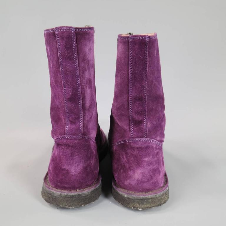 ANN DEMEULEMEESTER Size 8 Men's Purple Suede Crepe Sole Calf Boots For Sale 3