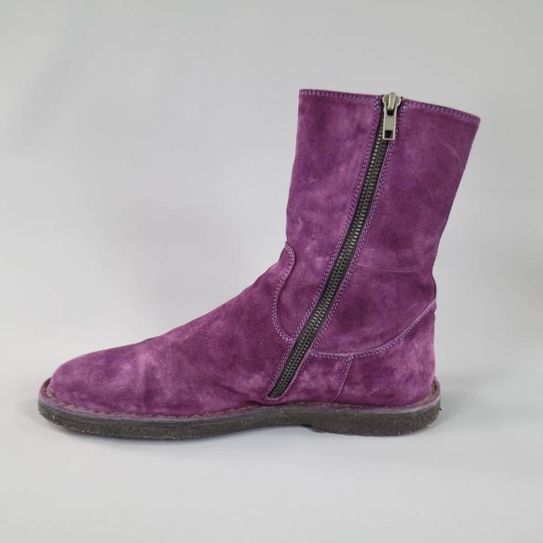 Ann Demeulemeester Size 8 Men S Purple Suede Crepe Sole