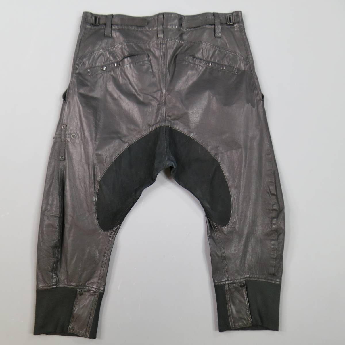 L G B Size 33 Men S Black Leather Cropped Drop Crotch