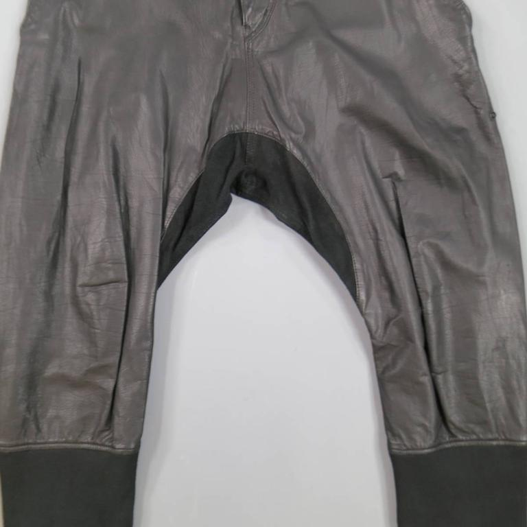 L.G.B Size 33 Men's Black Leather Cropped Drop Crotch Pants In Good Condition For Sale In San Francisco, CA