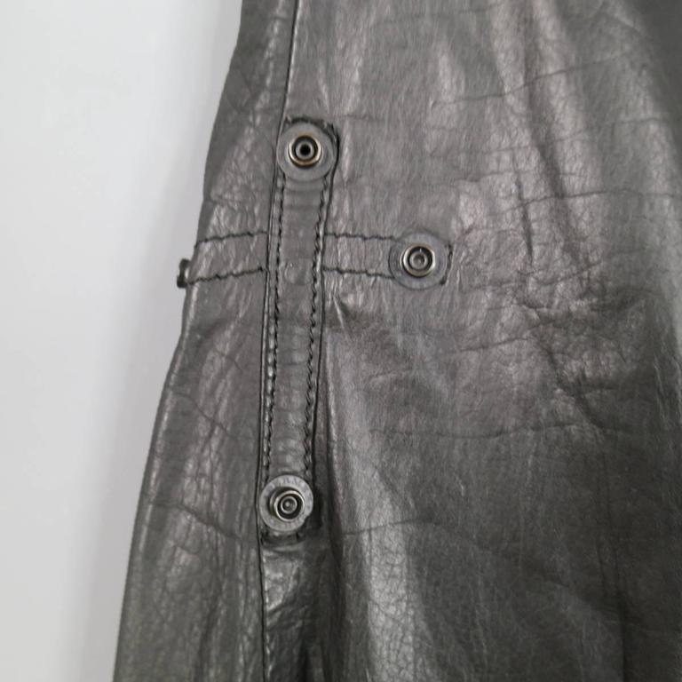 L.G.B Size 33 Men's Black Leather Cropped Drop Crotch Pants For Sale 2