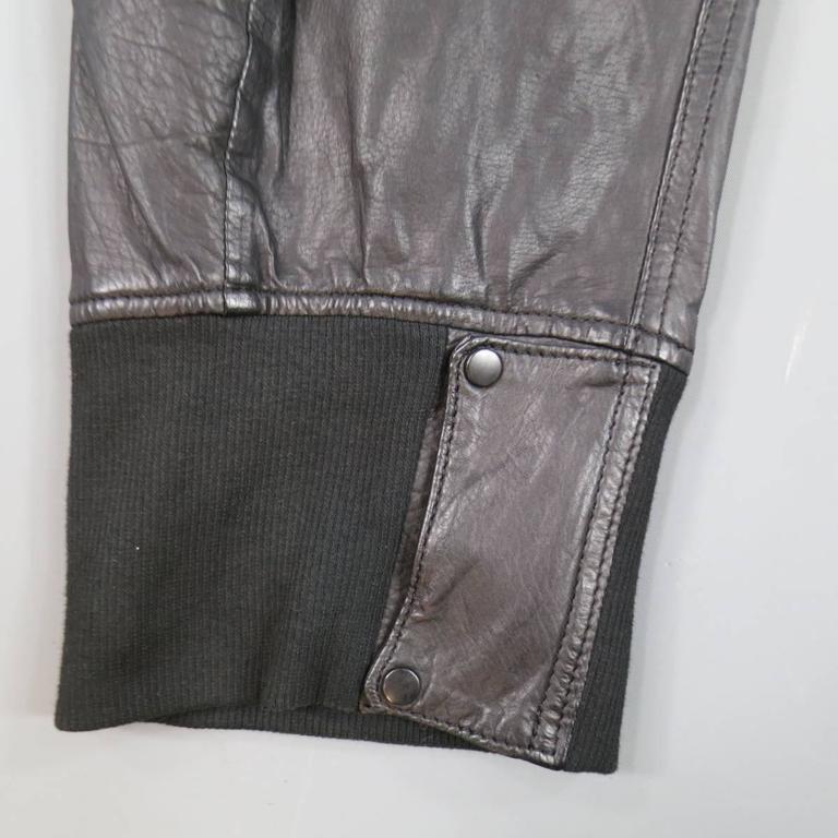 L.G.B Size 33 Men's Black Leather Cropped Drop Crotch Pants For Sale 3
