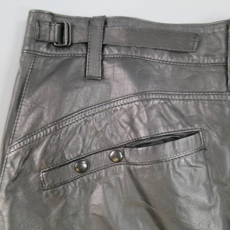 L.G.B Size 33 Men's Black Leather Cropped Drop Crotch Pants For Sale 4