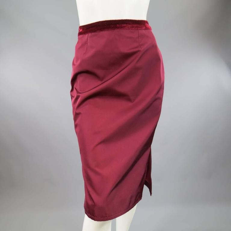YVES SAINT LAURENT by TOM FORD 8 Burgundy Silk Satin Fall 2004 Skirt Suit 9