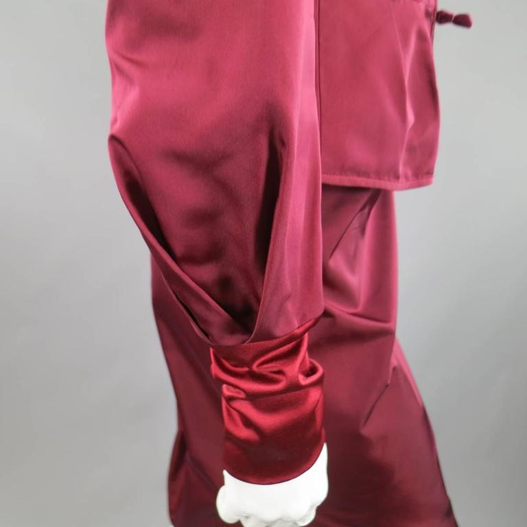 YVES SAINT LAURENT by TOM FORD 8 Burgundy Silk Satin Fall 2004 Skirt Suit 7