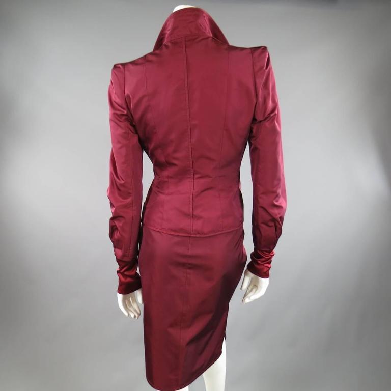 YVES SAINT LAURENT by TOM FORD 8 Burgundy Silk Satin Fall 2004 Skirt Suit 8