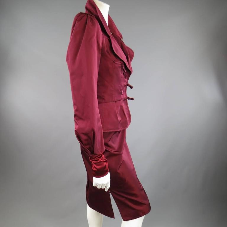 YVES SAINT LAURENT by TOM FORD 8 Burgundy Silk Satin Fall 2004 Skirt Suit 5