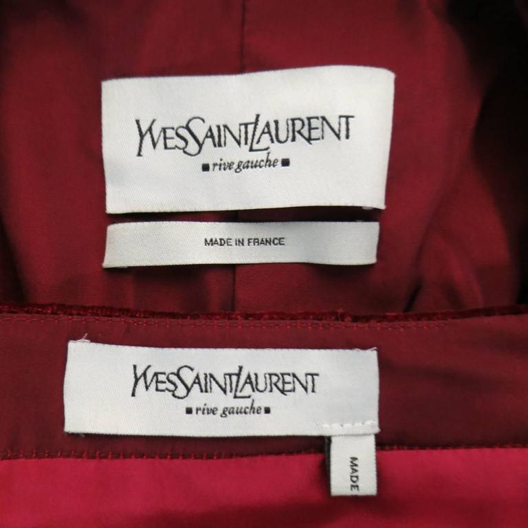 YVES SAINT LAURENT by TOM FORD 8 Burgundy Silk Satin Fall 2004 Skirt Suit 10