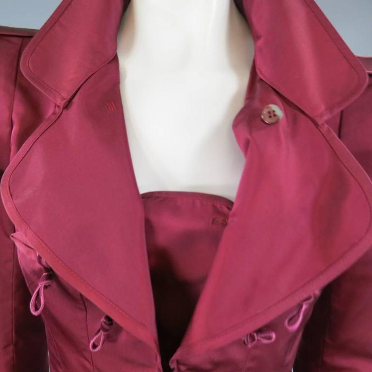 YVES SAINT LAURENT by TOM FORD 8 Burgundy Silk Satin Fall 2004 Skirt Suit 4