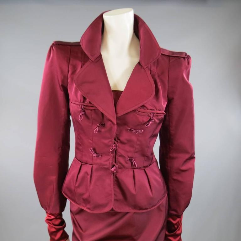 YVES SAINT LAURENT by TOM FORD 8 Burgundy Silk Satin Fall 2004 Skirt Suit 2