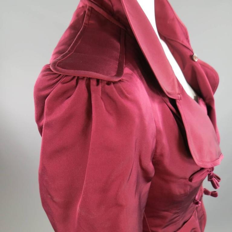YVES SAINT LAURENT by TOM FORD 8 Burgundy Silk Satin Fall 2004 Skirt Suit 6