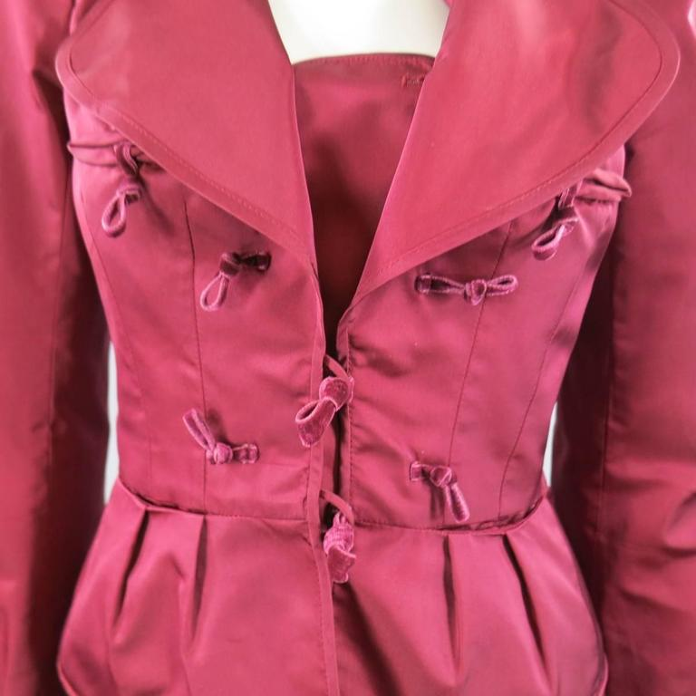 YVES SAINT LAURENT by TOM FORD 8 Burgundy Silk Satin Fall 2004 Skirt Suit 3