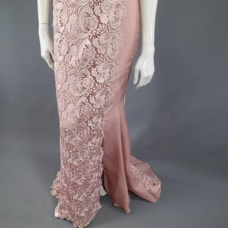 TONY WARD Spring 2011 Size 8 Pink Lace Ruched Bodice Shoulder Rufle Evening Gown 4