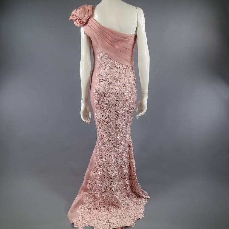 TONY WARD Spring 2011 Size 8 Pink Lace Ruched Bodice Shoulder Rufle Evening Gown 7