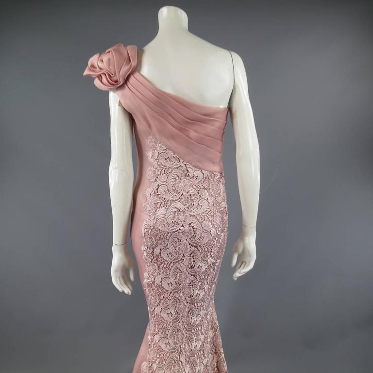 TONY WARD Spring 2011 Size 8 Pink Lace Ruched Bodice Shoulder Rufle Evening Gown 8