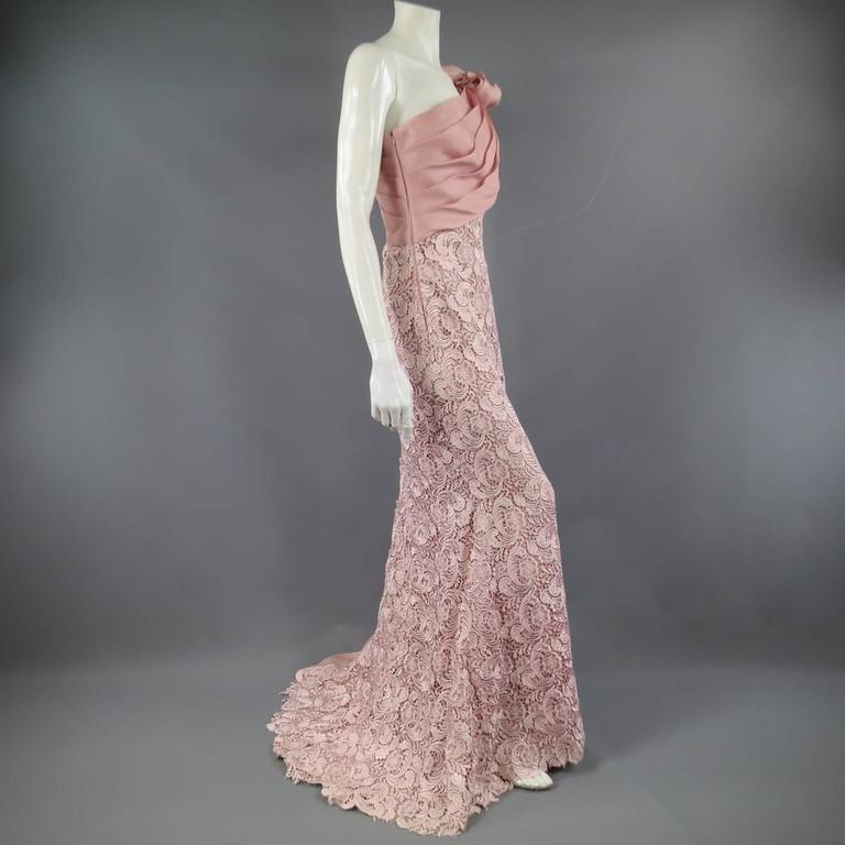 TONY WARD Spring 2011 Size 8 Pink Lace Ruched Bodice Shoulder Rufle Evening Gown 6