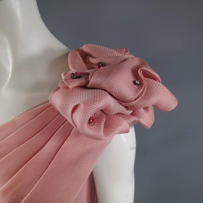 TONY WARD Spring 2011 Size 8 Pink Lace Ruched Bodice Shoulder Rufle Evening Gown 3