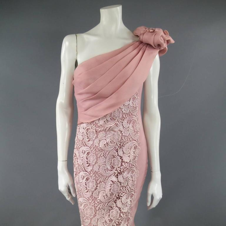 TONY WARD Spring 2011 Size 8 Pink Lace Ruched Bodice Shoulder Rufle Evening Gown 2