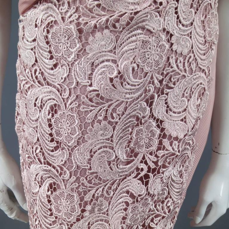 TONY WARD Spring 2011 Size 8 Pink Lace Ruched Bodice Shoulder Rufle Evening Gown 5