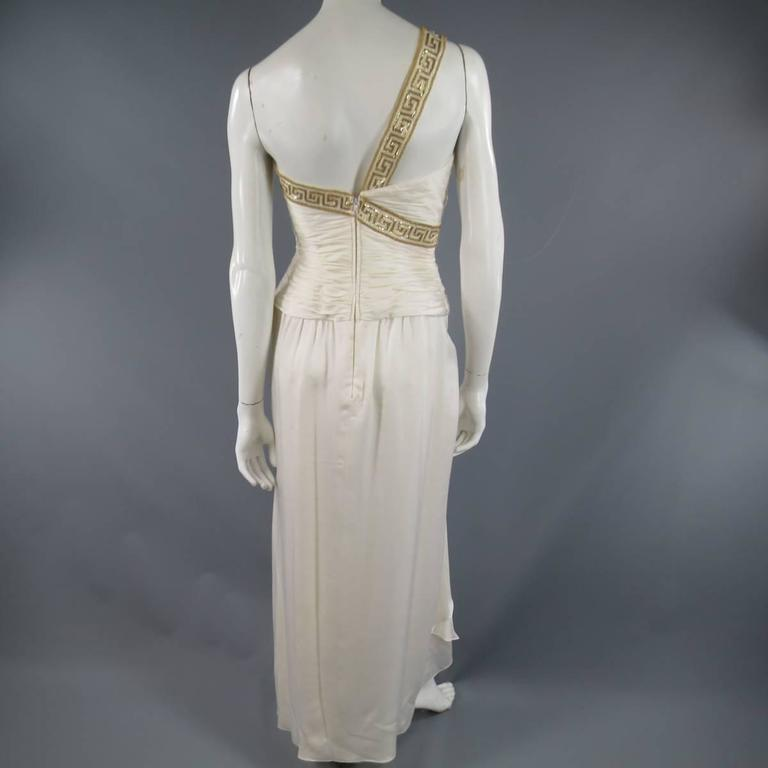 MICHAEL CASEY Size 6 Cream Pleated One Shoulder Gold Beaded Grecian Gown 7